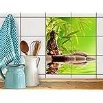 Dekor-Fliesen, Badfliesen | Fliesentattoo Küche Bad ergänzend zu Kühlschrankmagnet Wandtattoo | 20x15 cm Erholung Wellness Buddha Zen - 6 Stück
