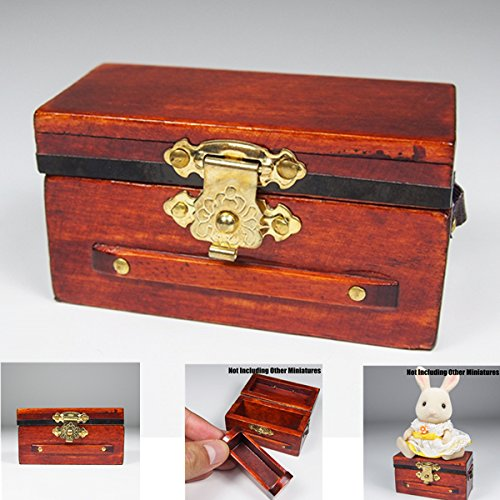 Treasure Chest Vintage Wine Box Case Wooden Miniature Doll House Accessory Gift