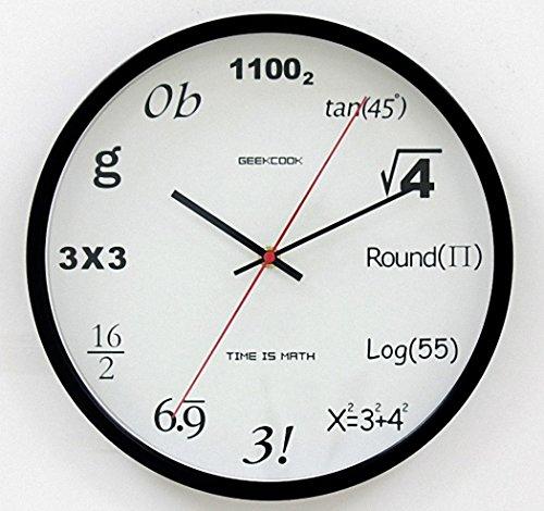 理系はおもわず欲しくなる!? 直径30cm 壁掛け 数式時計 リビングルーム 教室など ポップクイズクロック 【AG Logistics】 (ブラック)