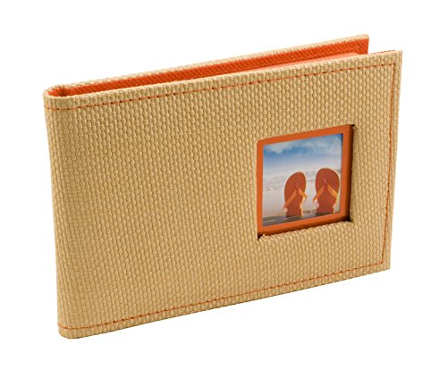 BorderTrends Beach 40-Pocket Rattan Cover Photo Album, Orange