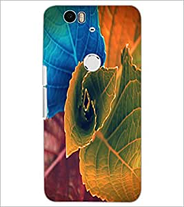 PrintDhaba Beautiful Leaf D-1155 Back Case Cover for HUAWEI NEXUS 6P (Multi-Coloured)