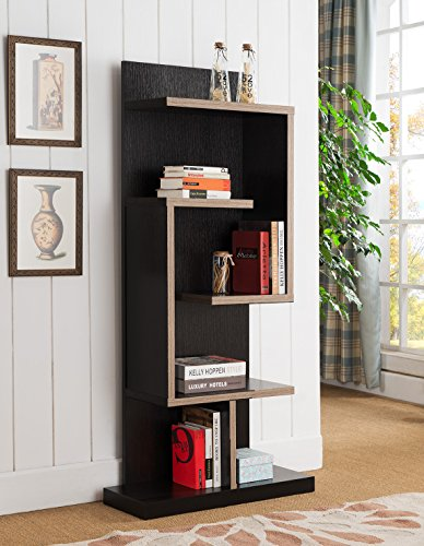 Contemporary Home Office Two Toned Red Cocoa Dark Taupe Bookcase Shelf Display 31
