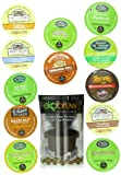 Great Mornings K-Cup Sampler Variety Pack with Ekobrew Refillable Cup, Green Mountain, Timothys and Van Houtte, 24 Count