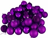 "60ct Purple Passion Shatterproof 4-Finish Christmas Ball Ornaments 2.5"" (60mm)"