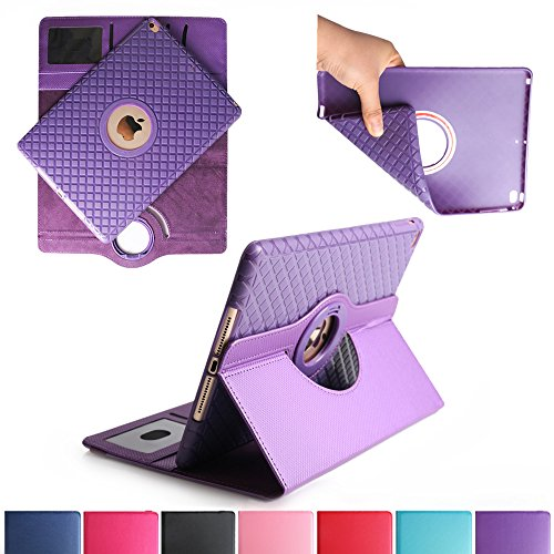 BoriYuan iPad Air 2 360 Degree Rotating Stand PU Leather Case Protective Flip Folio Detachable Soft Rubber Cover For Apple iPad Air 2 with Card Slot+Screen Protector+Stylus (Purple) (Ipad Protective Screen Cover compare prices)