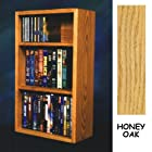 Solid Oak CD DVD/VHS Combo Wall Floor or Shelf Mount Cabinet - Holds 26 CDs AND 44 DVDs or 24 VHS (Honey Oak) (23.625H x 14.5W x 6.75D)