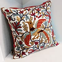 Pillow-Cases Cotton Linen Embroidery Pillowcase Blue Phoenix Throw Pillow Cushion Covers (one side printing 45 X 45 cm) from Pillow-Cases