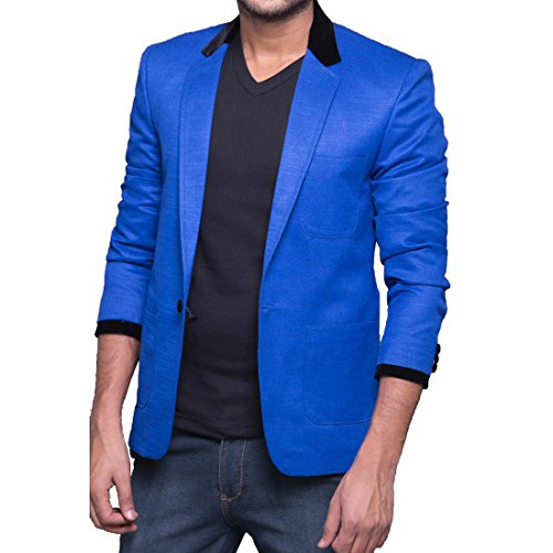 Azio Design Solid Blue linen Blazer For Men