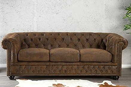 Dunord Design - Divano Chesterfield 3 posti, marrone, look tradizionale