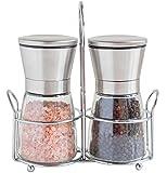 Elegante Edelstahlmühlen für Salz und Pfeffer mit Ständer - Twinzee Salz & Pfeffermühlen mit verstellbarem Mahlgrad und hübschen Glasbehältern
