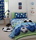 SOCCER BLUE TWIN BED QUILT COVER DUVET SET