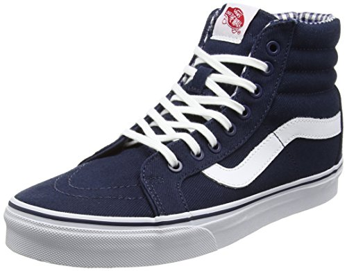 vans-sk8-hi-reissue-unisex-erwachsene-hohe-sneakers-blau-twill-gingham-dress-blues-true-white-46-eu