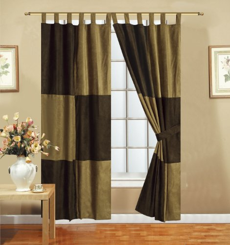 4pcs Solid Mocha Brown Micro Suede Patchwork Lined Tab Top Window