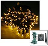 17 METRE LED SOLAR FAIRY STRING LIGHTS WITH 150 LED's in WARM WHITE ** HIGH QUALITY OUTDOOR GARDEN LIGHTING - IDEAL FOR WEDDINGS, CHRISTMAS, PARTY, ETC **