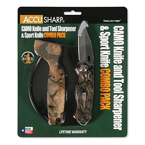 AccuSharp Sharpener and Sport Folding Knife Combo, Camouflage/Green