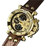 Konigswerk Mens Dress Watch Big Face Brown Leather Strap Gold Tone Dial Multifunction Day Date AQ101131G