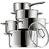 WMF Topf-Set 5-teilig Astoria Schüttrand Glasdeckel Cromargan Edelstahl poliert induktionsgeeignet spülmaschinengeeignet