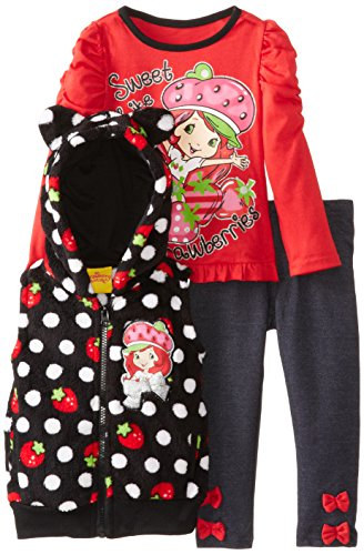 Strawberry Shortcake Little Girls' 3 Piece Polka Dot Vest Pullover And Pant, Black, 3T front-662769