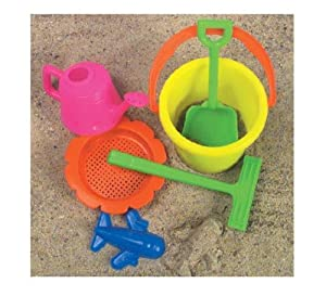 McToy Educational Products - 6 Piece Sandbox Beach Set - Bucket, Shovel & more... [Toy] - Sandbox Beach set includes 6 pieces