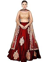 Designer Bollywood Style Maroon Art Silk Embroidery Work Semi-Stitched Bridal Lahenga Choli