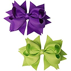 "Mike & Mary® 5"" Large Hair Bows Hair Clips for Girls Boutique Bows Hair Barrettes accessories for Women (2pcs 5"" Solid Green & Purple)"