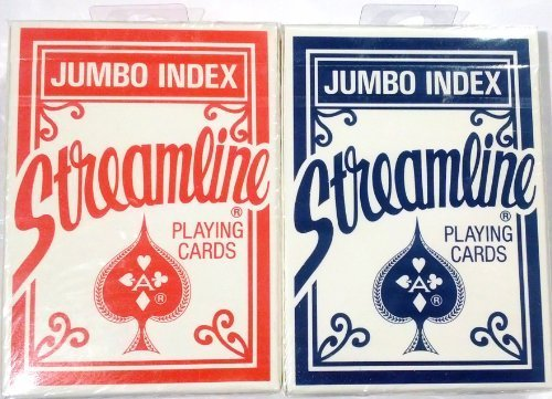 United States Playing Cards Company Streamline Jumbo Index Playing Cards, 2 Pack, [1 Red + 1 Blue]