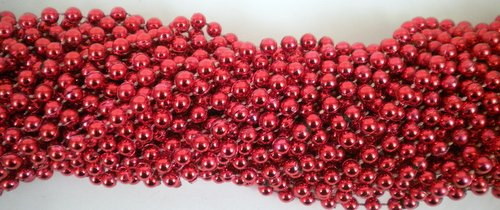 33 inch 07mm Round Metallic Red Mardi Gras Beads - 6 Dozen (72 necklaces)