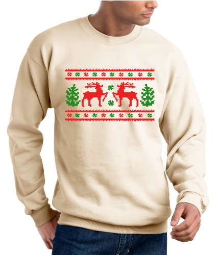 Ugly Christmas Sweater Design, Original Sweatshirt – Beige – L