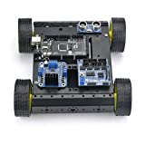 SainSmart Mobile Car Kit with Sensor Shield V5 + 4WD Mobile Platform + Dual H Bridge Stepper Motor Driver + HC-SR04 Ultrasonic Distance Sensor + UNO/UNO R3/Mega2560/Mega R3(optional) for Arduino (Mega2560 R3, Black)