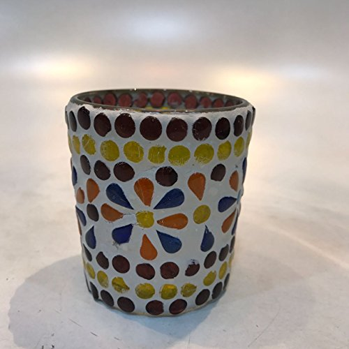 Dlite Crafts Multicolor Polka Design Home Decorative Votive Candle Holder, Set Of 2 PCs - B06XZYTJVQ