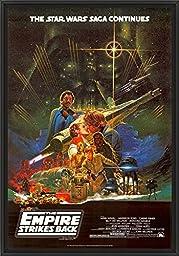 28in x 41in Star Wars Episode V: The Empire Strikes Back - Black Floater Framed Canvas w/ BRUSHSTROKES