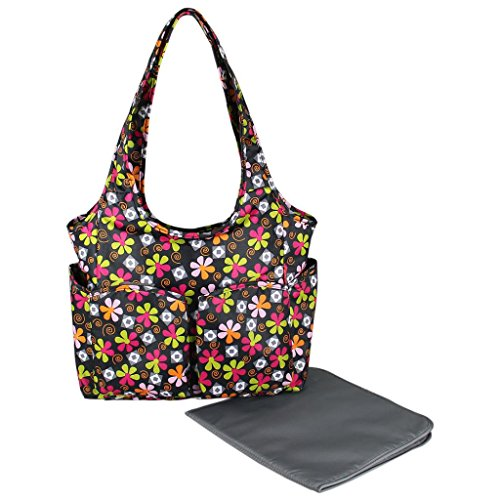 ECOSUSI Floral Baby Nappy Bag Fashion Portable Diaper Totel Bag