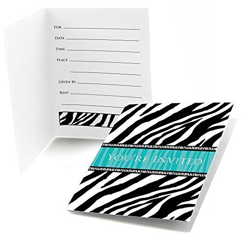 Zebra Teal - Bridal Shower Fill In Party Invitations (8 count) (Teal Zebra Party Supplies compare prices)