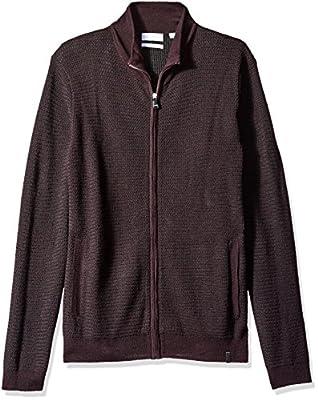 Calvin Klein Men's Full Zip Merino Plaited Sweater