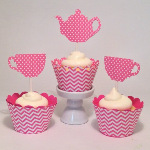 Piece Of Cake Parties Girl'S Pink Podka Dot Tea Party Birthday Cupcake Topper, Tea For Two, Set Of 12