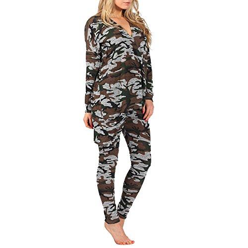 Street Chic Outlet -  Tuta da ginnastica  - Camicia - Donna Schwarz - Camouflage Asymmetric Suit S/M
