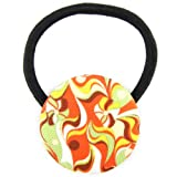 Yellow Orange Brown Green White Funkadelic Color Splash Printed Silk Screen Woven Fabric Covered Button Hair Elastic