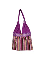 Womaniya Canvas Purple Handbag For Women(Size-32 Cm X 32 Cm X 10 Cm) - B00SJ1I78E