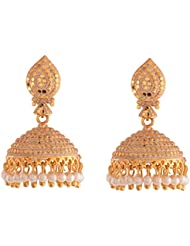 Ganapathy Gems Designer Antique Gold Plated Jhumki With Pearl Drops (9202) 9202