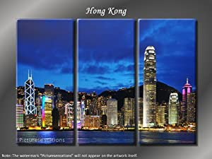 Picture Sensations Framed Huge 3-Panel City Skyline Hong Kong Giclee Canvas Print