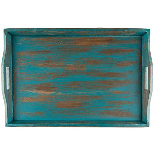 Awesome Hl Xxl Large Wooden Serving Tray Distressed Turquoise Rustic Short Links Chair Design For Home Short Linksinfo
