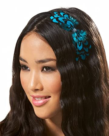 bebe Crystal Flower Feather Headband :  flower bebe feathers hair accessories