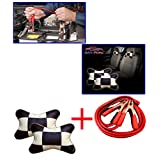 Combo - Auto Pearl - 500 Amp Heavy Duty Jumper Booster Cables 7.5Feet, Beige&Cola Car Neck Rest