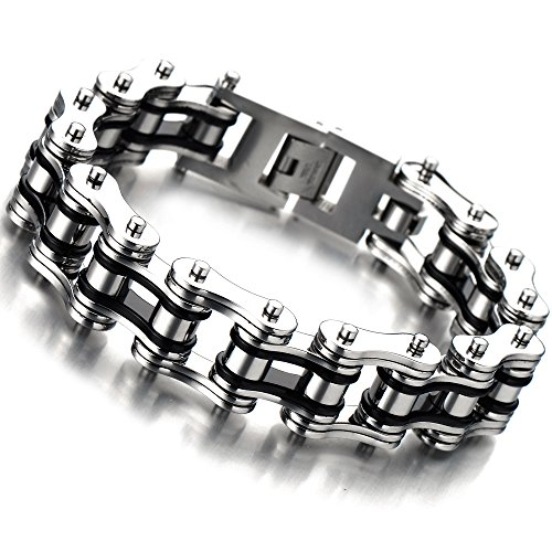 Masculine Mens Bike Chain Bracelet of Stainless Steel Silver Black Two-tone Polished