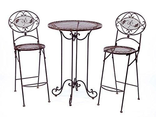 Stehtisch-2-Barhocker-Garnitur-Tisch-Garten-Bar-Antikstil-garden-funiture