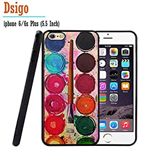 iPhone 6S Plus Case, iPhone 6 Plus Case, Dsigo TPU Black Full Cover Protective Case for New Apple iPhone 6/6S Plus 5.5 inch - Watercolor palette