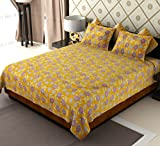 Amethyst Polycotton Double Bedsheet with 2 Pillow Covers - Multicolour
