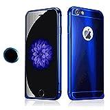 iPhone 6/6s ケース Sakula アルミ バンパー 背面パネル付き かっこいい メタルケース iphone 6/6s(4.7″)用 ホームボタンシール付き 指紋認証可能(青)