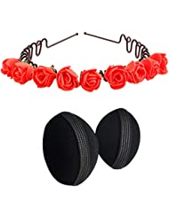 Style Tweak Combo Of Hair Puff Bumpits And Red Zigzag Hairband Tiara