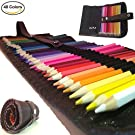 Colored Pencils for Adults & Kids by Xjax Innovations® 48 Assorted Colors Drawing Art Supplies with Roll Up Washable Canvas Pencil Bag Pouch Wrap Set for Artist Sketch Drawing Oil Pencils